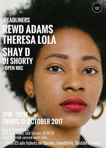 Word On The Street w/ Theresa Lola & Rewd Adams at Boondocks on Thu 12th October 2017 Flyer