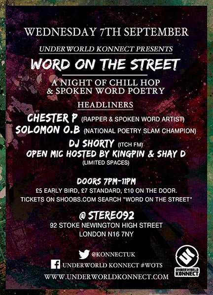 Word on the Street at Trapeze on Wednesday 7th September 2016 Flyer