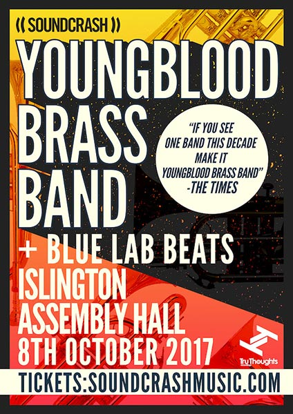 Youngblood Brass Band at Islington Assembly Hall on Sun 8th October 2017 Flyer