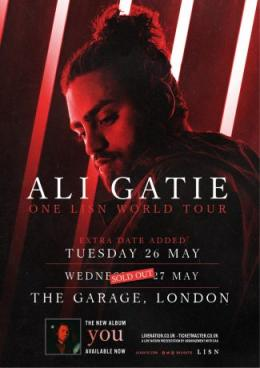 Ali Gatie at The Garage on Tue 26th May 2020