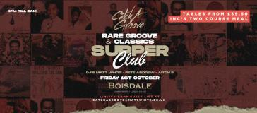 Catch a Groove Supper Club at The Boisdale Club Canary Wharf on Friday 1st October 2021