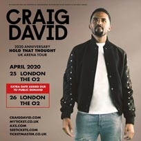 Craig David at The o2 on Saturday 25th April 2020