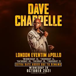 Dave Chappelle at Hammersmith Apollo on Tuesday 19th October 2021