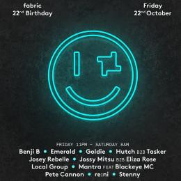 Fabric 22nd Birthday at Fabric on Friday 22nd October 2021