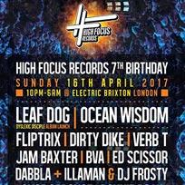 High Focus 7th Birthday at Electric Ballroom on Sunday 16th April 2017
