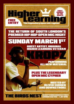 Higher Learning at The Birds Nest on Sunday 1st March 2020