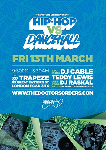 Hip-Hop vs Dancehall at Trapeze on Friday 13th March 2020