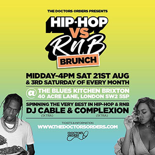 Hip-Hop vs RnB Brunch at The Blues Kitchen Brixton on Saturday 21st August 2021
