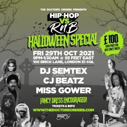 Hip Hop Vs RnB: Halloween Special at 93 Feet East on Friday 29th October 2021