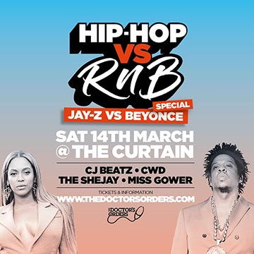 Hip-Hop vs RnB at The Curtain on Saturday 14th March 2020