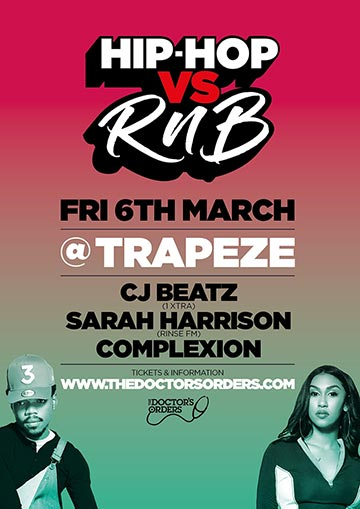 Hip-Hop vs RnB at Trapeze on Friday 6th March 2020