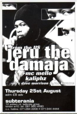 Jeru the Damaja at Subterania on Thursday 25th August 1994