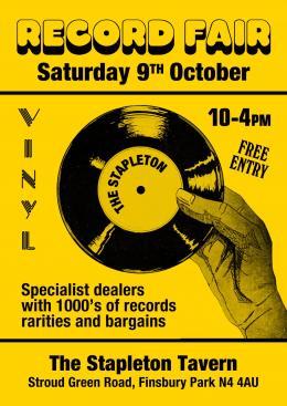 Record Fair at Stapleton Tavern on Saturday 9th October 2021