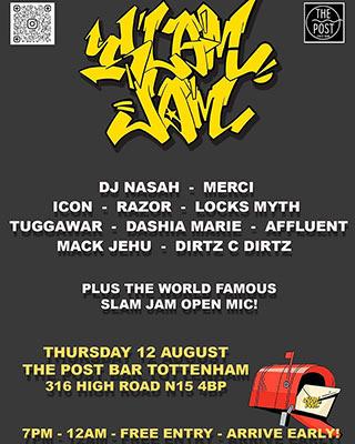 Slam Jam  at The Post Bar on Thursday 12th August 2021