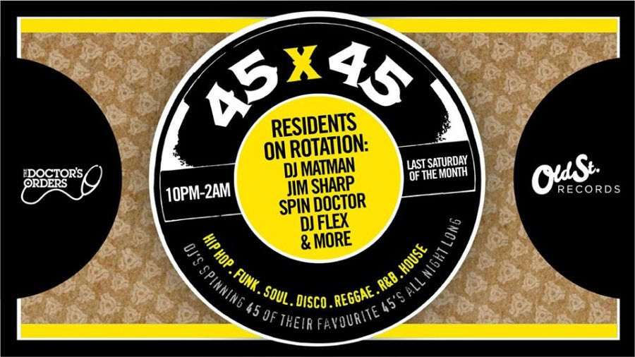 45 x 45s at Old Street Records on Sat 28th March 2020 Flyer