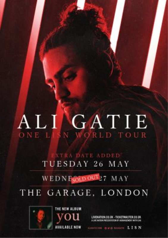 Ali Gatie at The Garage on Wed 27th May 2020 Flyer