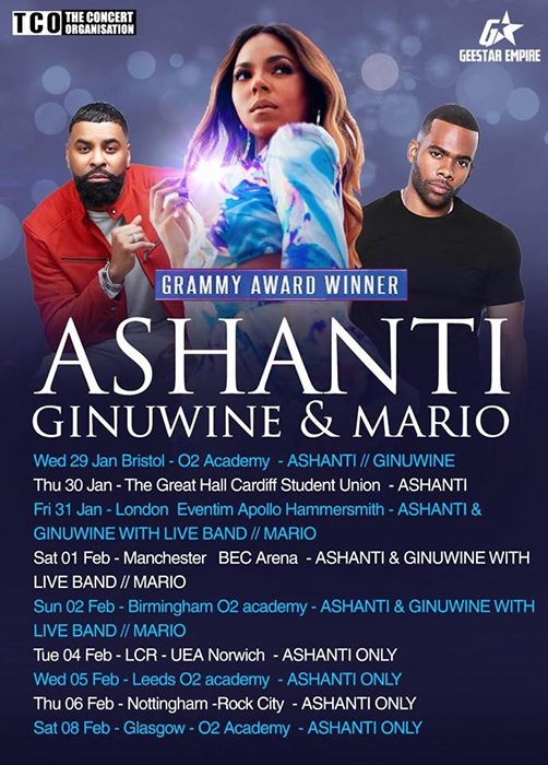 Ashanti + Ginuwine+ Mario at Hammersmith Apollo on Friday 31st January 2020 Flyer