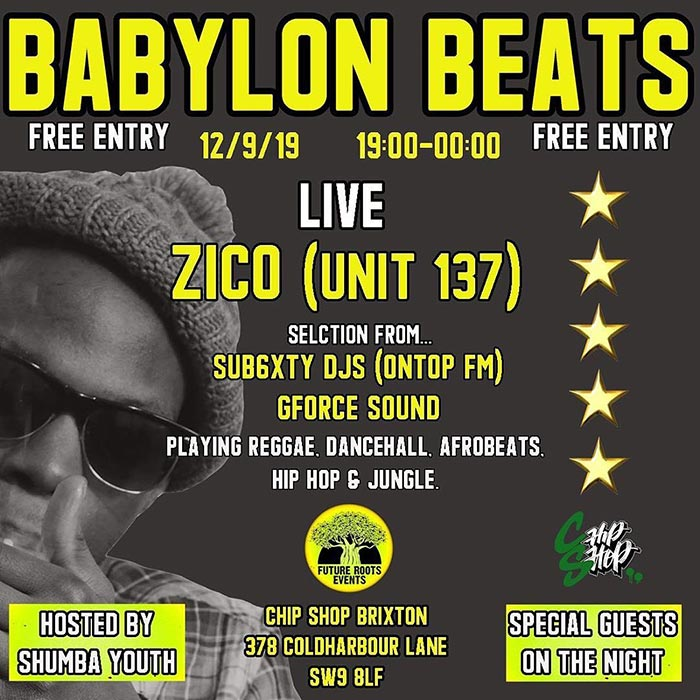 Babylon Beats at Chip Shop BXTN on Thu 12th September 2019 Flyer