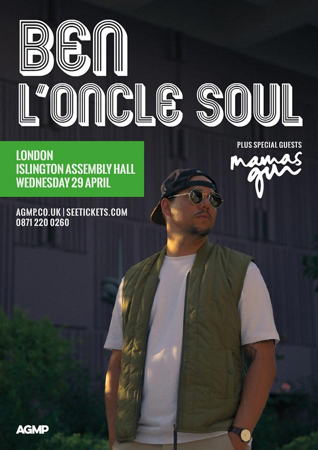 Ben L'Oncle Soul at Islington Assembly Hall on Wed 29th April 2020 Flyer