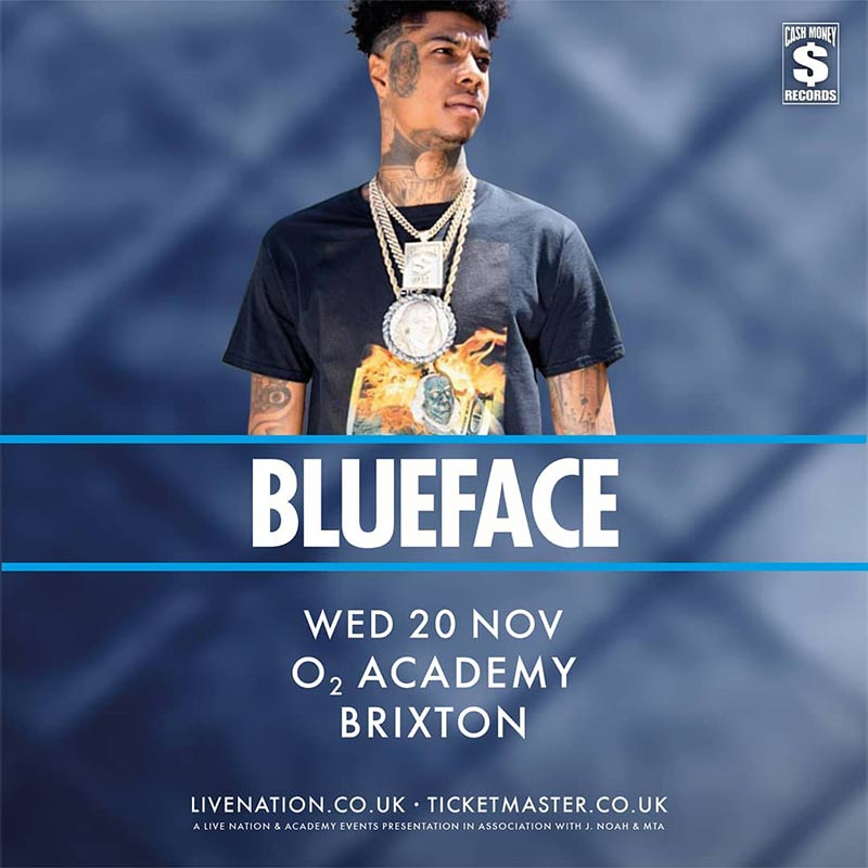 Blueface at Brixton Academy on Wed 20th November 2019 Flyer