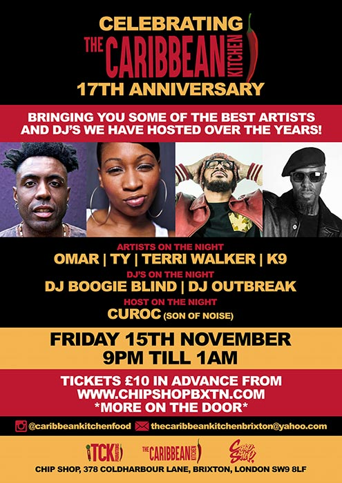 CK 17th Anniversary Party at Chip Shop BXTN on Fri 15th November 2019 Flyer
