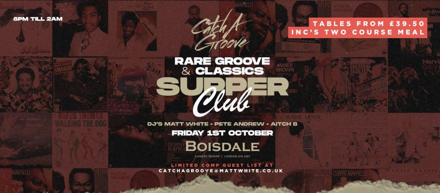 Catch a Groove Supper Club at The Boisdale Club Canary Wharf on Fri 1st October 2021 Flyer