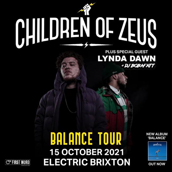Children of Zeus at Electric Brixton on Fri 15th October 2021 Flyer