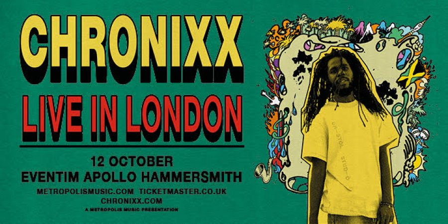 Chronixx at Hammersmith Apollo on Mon 12th October 2020 Flyer