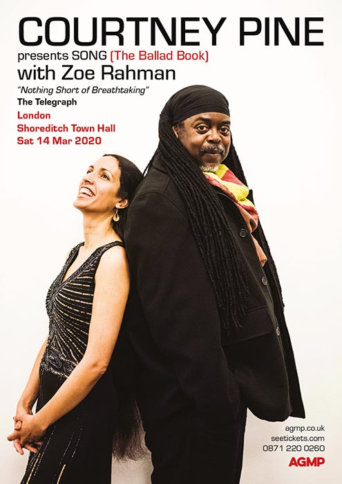 Courtney Pine + Zoe Rahman at Shoreditch Town Hall on Sat 14th March 2020 Flyer