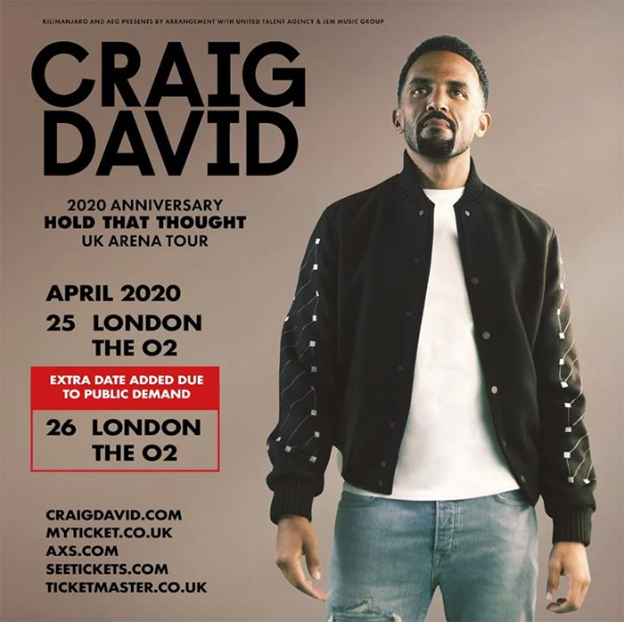 Craig David at The o2 on Sun 26th April 2020 Flyer