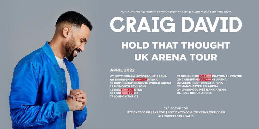 Craig David at The o2 on Sat 16th April 2022 Flyer