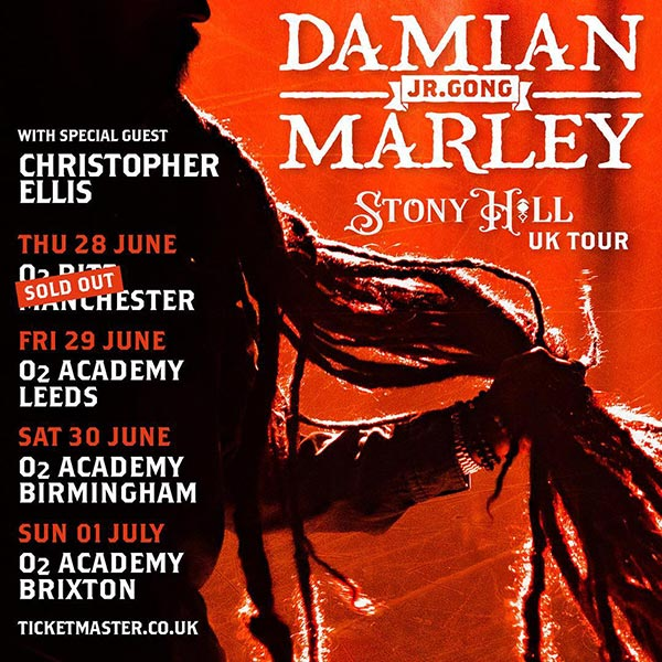 Damian Marley at Brixton Academy on Sun 1st July 2018 Flyer