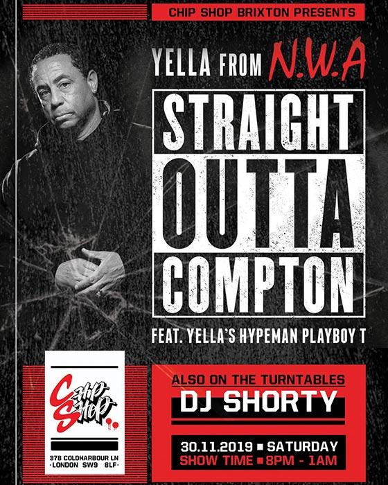 DJ Yella at Chip Shop BXTN on Sat 30th November 2019 Flyer