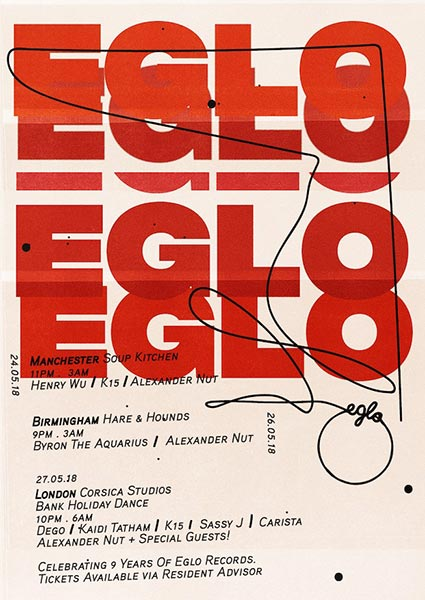 Eglo Records Bank Holiday Dance at Corsica Studios on Sun 27th May 2018 Flyer