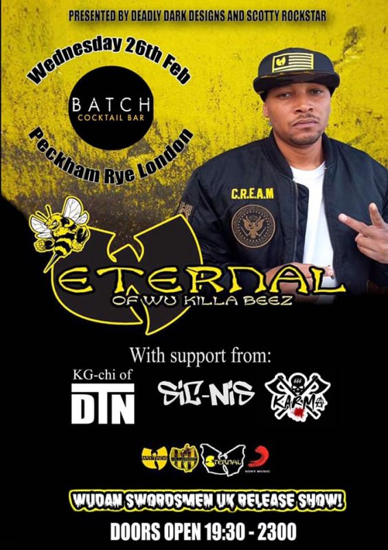 Eternal (Wu Killa Beez) at Batch Cocktail Bar on Wed 26th February 2020 Flyer