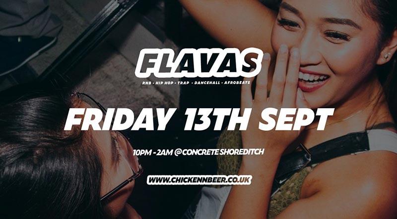 Flavas at Concrete on Fri 13th September 2019 Flyer