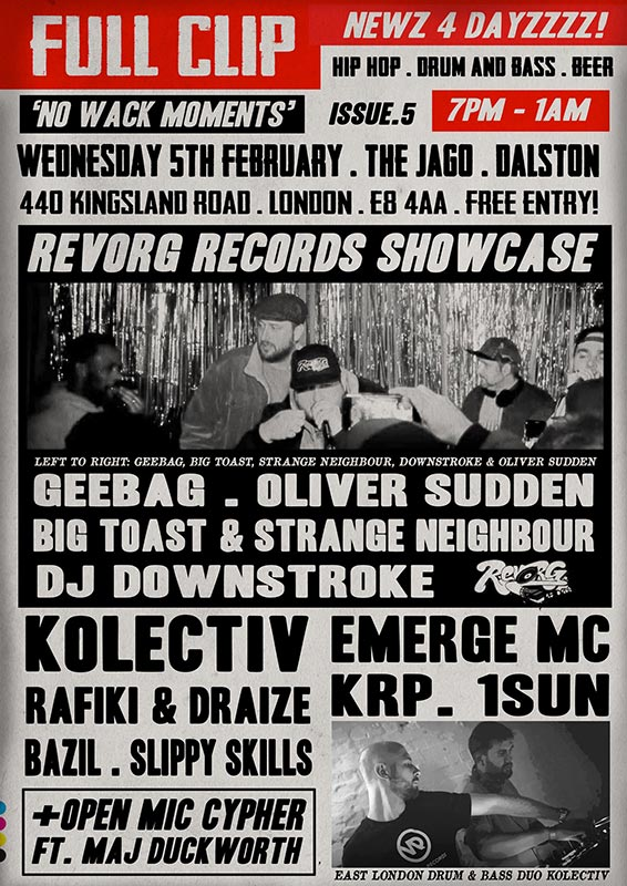 Full Clip at The Jago on Wed 5th February 2020 Flyer