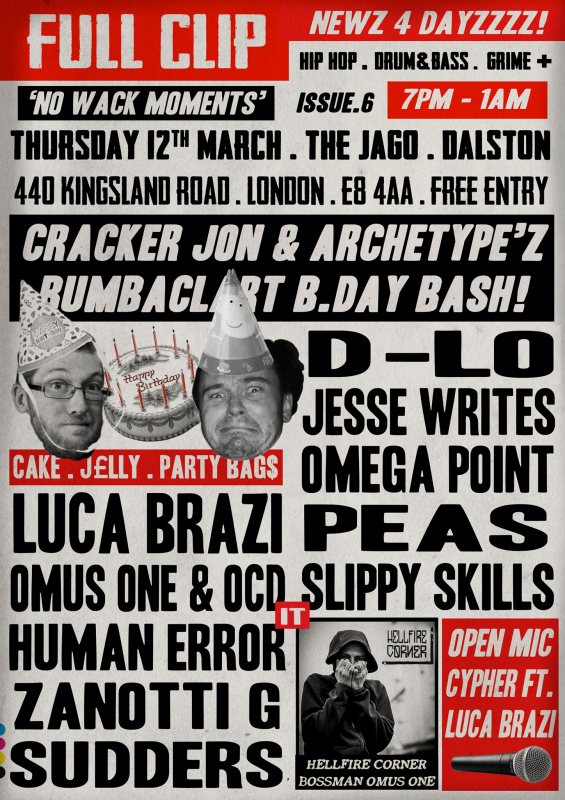 Full Clip at The Jago on Thu 12th March 2020 Flyer