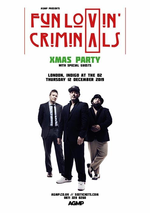 Fun Lovin Criminals Xmas Party at Indigo2 on Thu 12th December 2019 Flyer