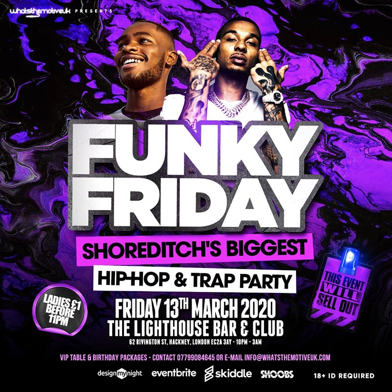 Funky Friday at The Lighthouse Bar and Club on Fri 13th March 2020 Flyer