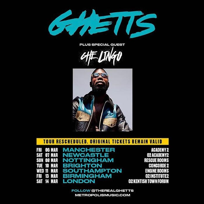 Ghetts at The Forum on Sat 14th March 2020 Flyer