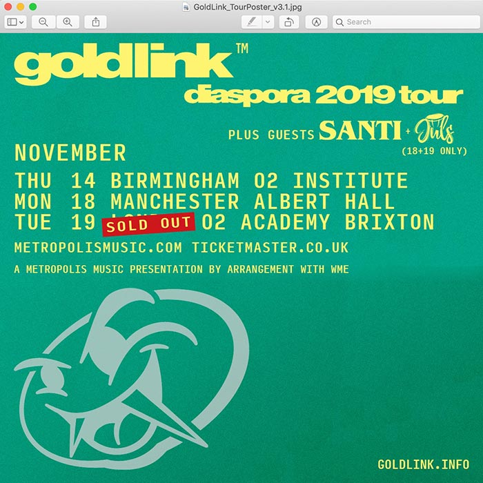 Goldlink at Brixton Academy on Tue 19th November 2019 Flyer