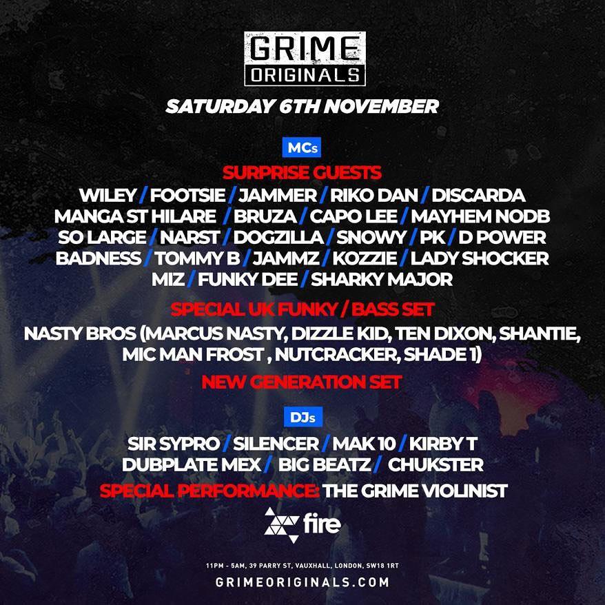 Grime Originals at Fire & Lightbox Complex on Sat 6th November 2021 Flyer
