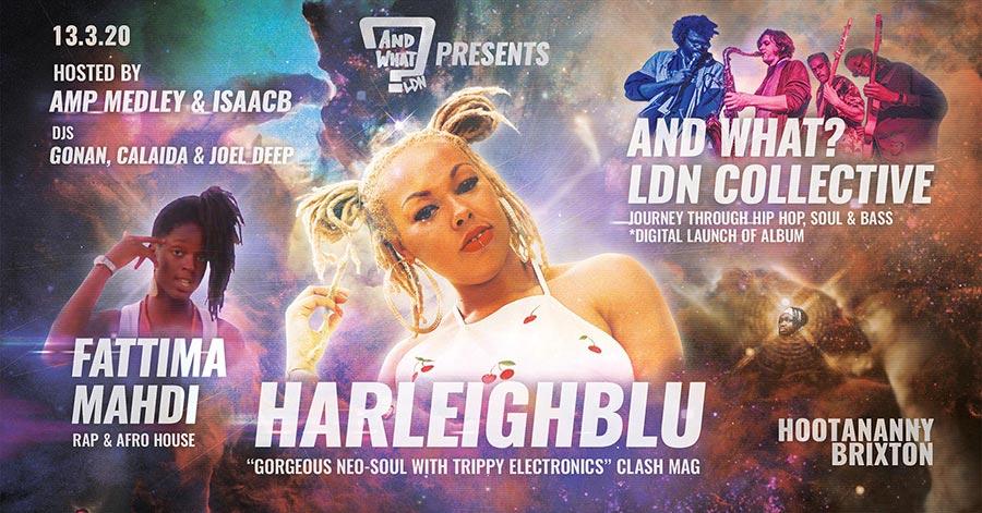 Harleighblu at Hootananny on Fri 13th March 2020 Flyer