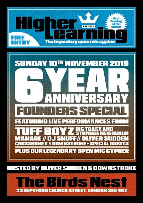 Higher Learning at The Birds Nest on Sun 10th November 2019 Flyer