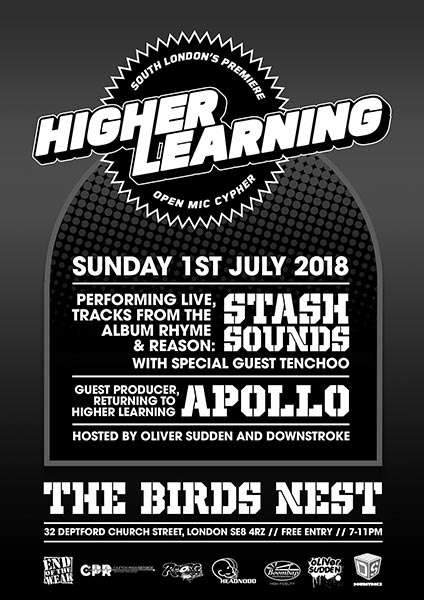 Higher Learning at The Birds Nest on Sun 1st July 2018 Flyer