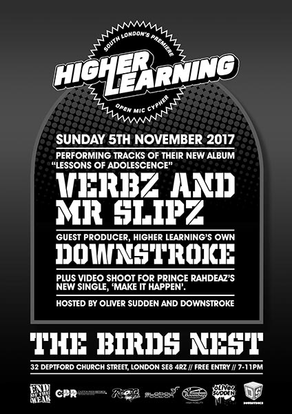 Higher Learning at The Birds Nest on Sun 5th November 2017 Flyer
