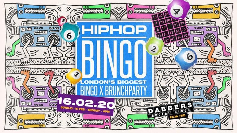 Hip Hop Bingo at Dabbers Social Bingo on Sun 16th February 2020 Flyer