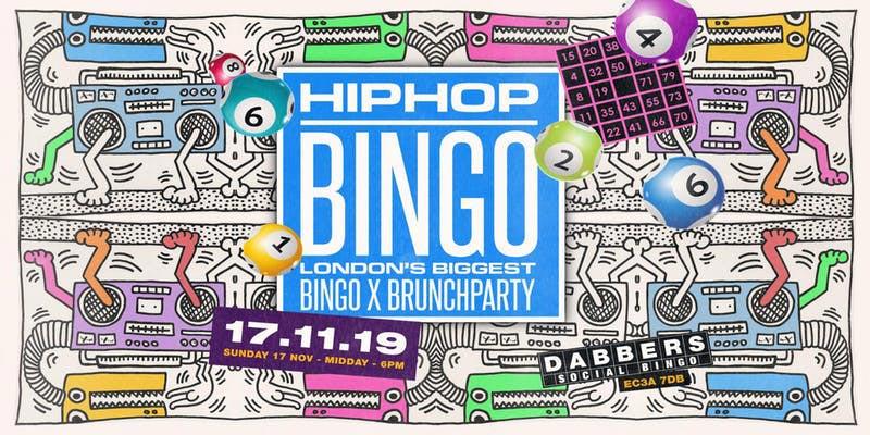Hip Hop Bingo at Dabbers Social Bingo on Sun 17th November 2019 Flyer