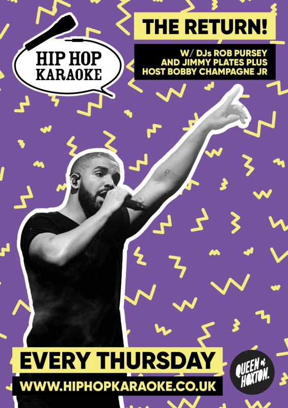 Hip Hop Karaoke at Queen of Hoxton on Thu 14th October 2021 Flyer